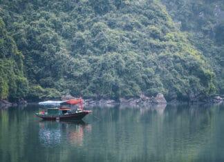 Fiskeri i smaragdgrønt vand ved Cat Ba landsbyen i Ha Long bugten i Nordvietnam - Vietnam